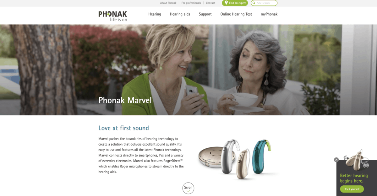 Phonak homepage screenshot