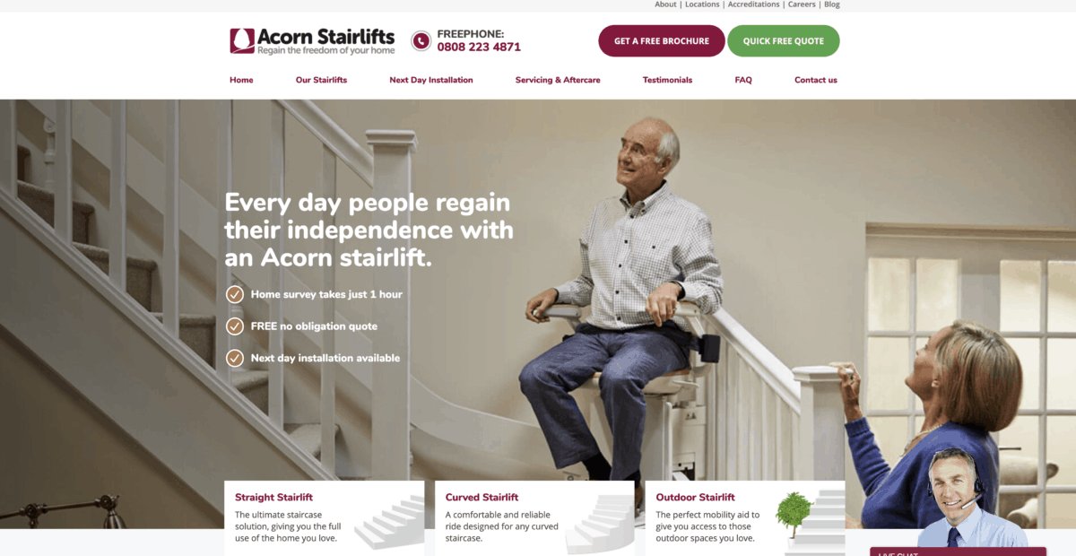 Acorn Stairlifts homepage screenshot
