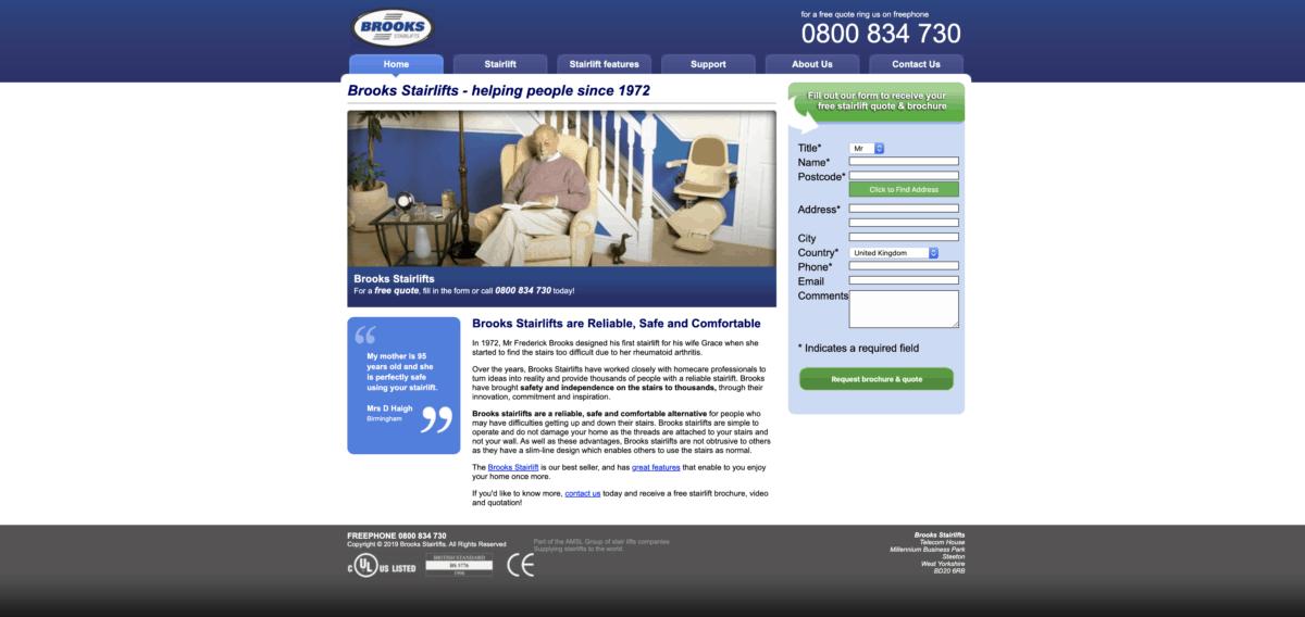 Brooks homepage screenshot