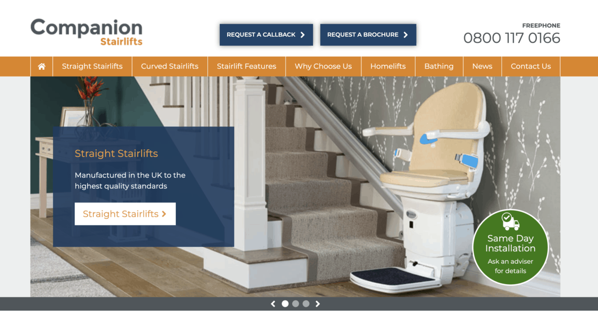 Companion Stairlifts homepage screenshot