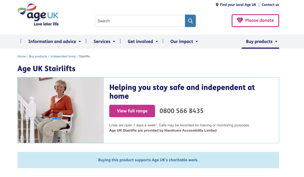 AgeUK stairlifts homepage screenshot