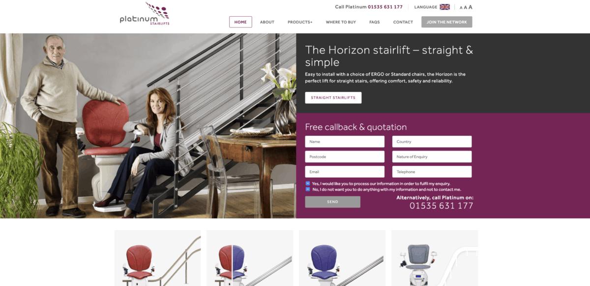 Platinum stairlifts homepage screenshot