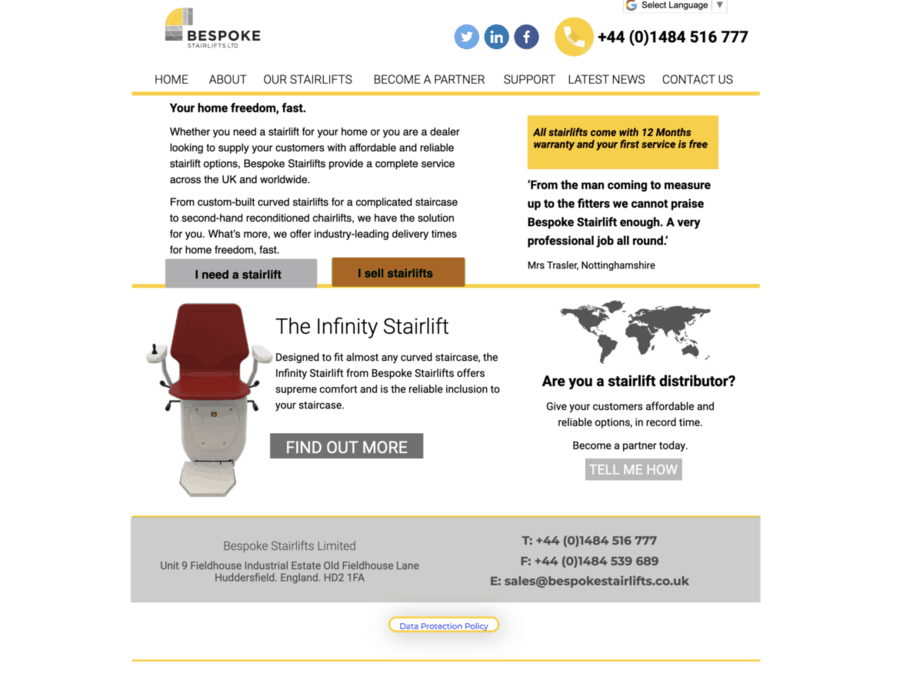 Bespoke Stairlifts homepage