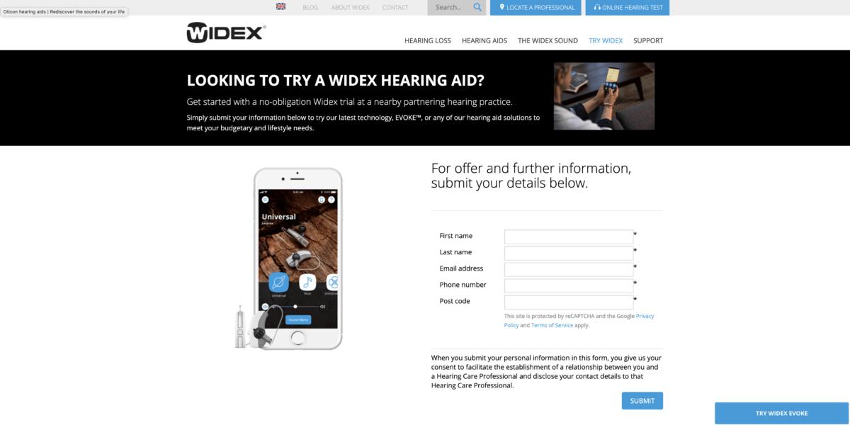 Widex homepage